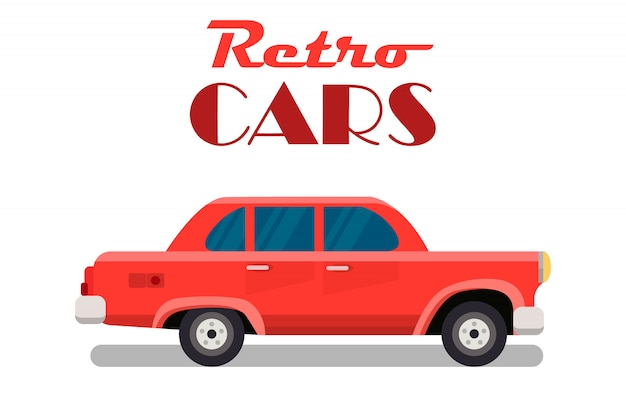 Retro cars, vintage sedan web banner template
