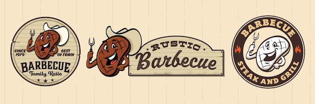 肉とレトロな漫画のバーベキューのロゴ