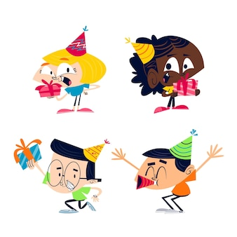 Retro cartoon birthday sticker set