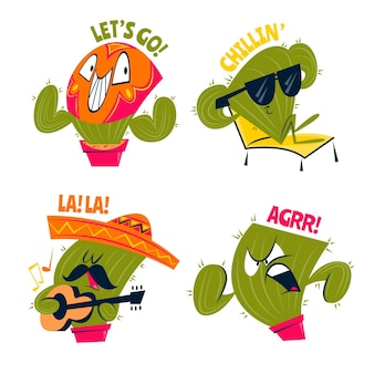 Retro cartoon cactus funny stickers
