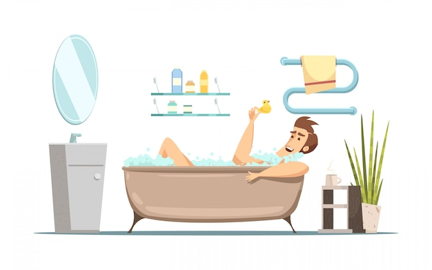 Retro cartoon composition in hygiene theme with man taking bath in bathroom