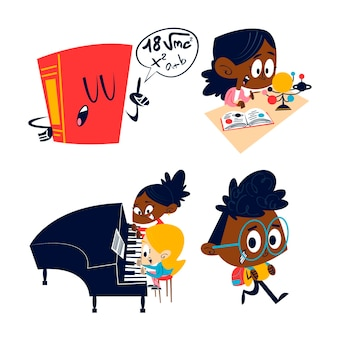 레트로 만화 교육 스티커 그림
