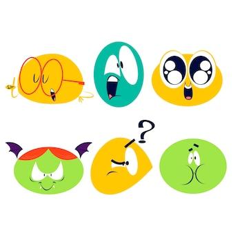 Collezione di adesivi di emoticon retrò dei cartoni animati