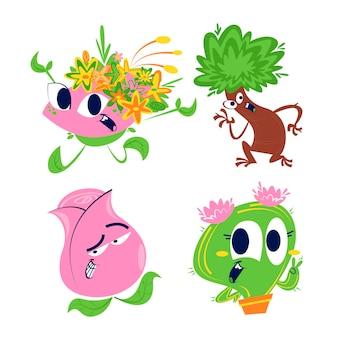 レトロな漫画の花と植物のステッカーセット Premiumベクター