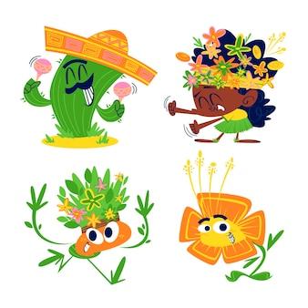 레트로 만화 꽃과 식물 스티커 세트