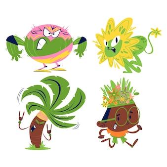 レトロな漫画の花と植物のステッカーセット