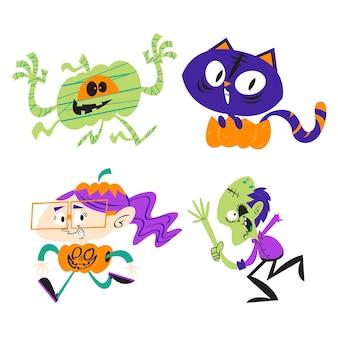 Retro cartoon halloween stickers