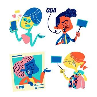 Retro cartoon influencer stickers