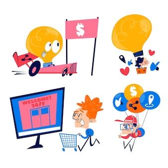 Collezione di adesivi marketing retrò dei cartoni animati