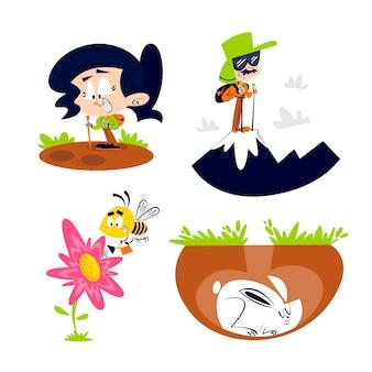 Collezione di adesivi natura retrò dei cartoni animati