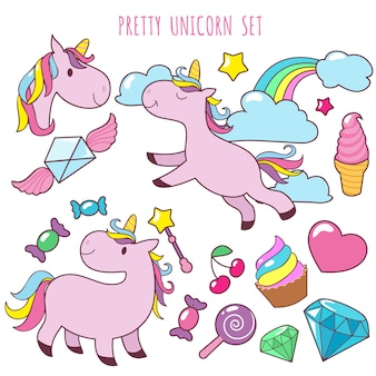 Retro cartoon pink unicorns vector girl fashion patch badges with fancy rainbow, cupcake, ice cream and sweets