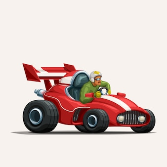 Retro cartoon racing car on white