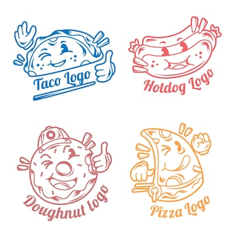 Retro cartoon restaurant logo collection