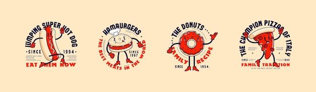 レトロな漫画レストランのロゴコレクション