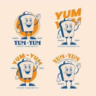 Collezione di logo ristorante retrò dei cartoni animati