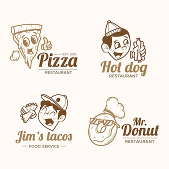 Retro cartoon restaurant logo set