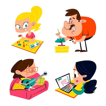 Retro cartoon stay at home sticker pack