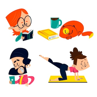 Retro cartoon stay at home stickers