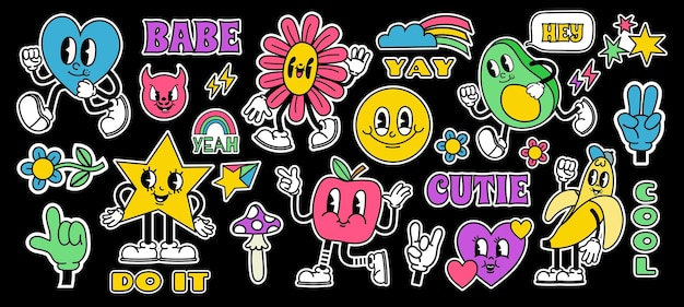 Retro cartoon stickers with funny comic characters and gloved hands. contemporary abstract shape, banana, star and mushroom badge vector set. happy avocado, heart and apple with legs in boots