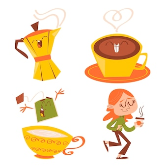 レトロな漫画のお茶とコーヒーの時間のステッカー