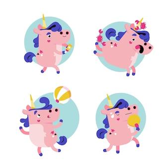 Ukko retrò dei cartoni animati la collezione di adesivi di unicorno