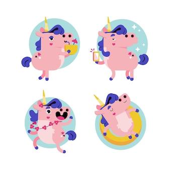 Retro cartoon ukko the unicorn sticker collection