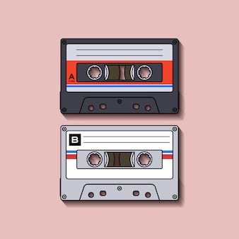 Retro Casette Tape Flat Design