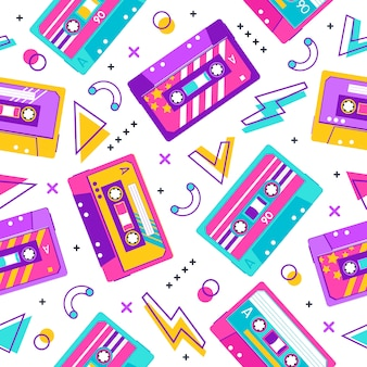 Retro cassette pattern. seamless vintage memphis  party pattern, music audio cassette, analogue  stereo audiocassette  background. cassette seamless melody analogue casette illustration