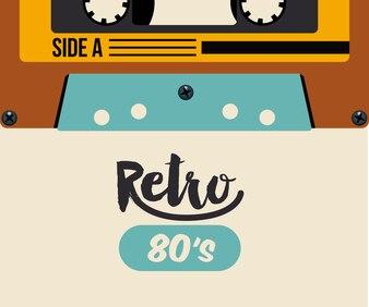 Retro cassette poster isolated icon design