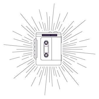 レトロカセットポスター隔離されたアイコンのデザイン