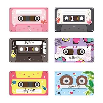 Ретро кассеты значок комплект дизайн, музыка старинные ленты и аудио тема векторные иллюстрации
