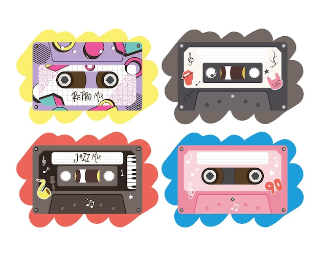 Retro cassettes icon collection design, music vintage tape and audio theme vector illustration