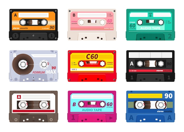 Retro cassettes. vintage music tape, stereo record set.