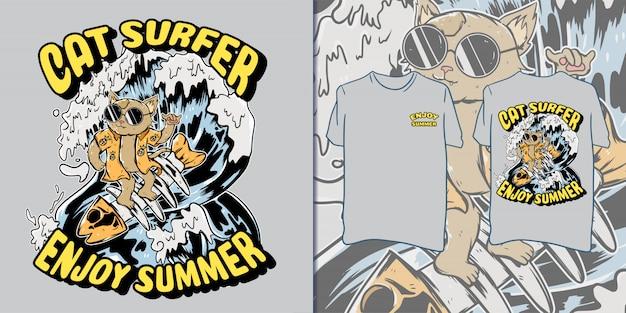Retro cat surfing illustration for t-shirt