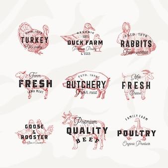 レトロな牛と家禽のロゴのテンプレートセット。