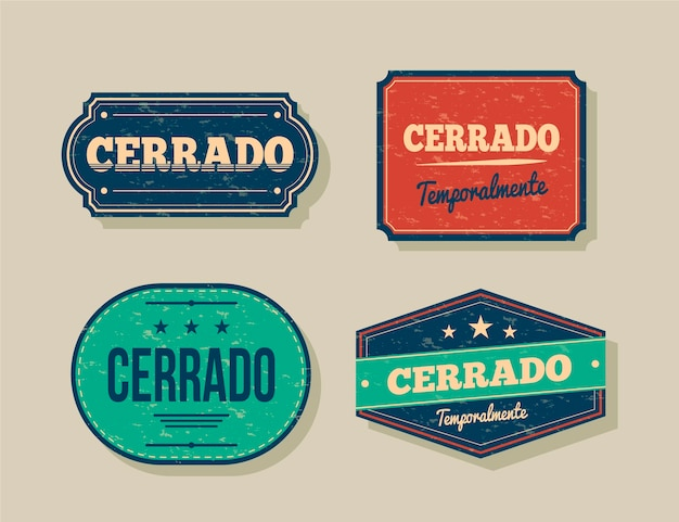 Retro cerrado signboard collection