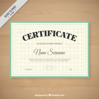 Retro certificate with a green frame