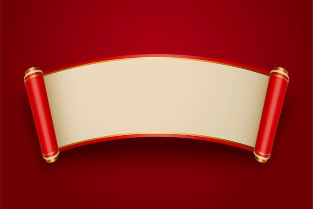 Retro chinese style blank scroll on red background for design uses
