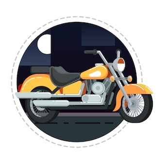 Retro chopper icon in flat design
