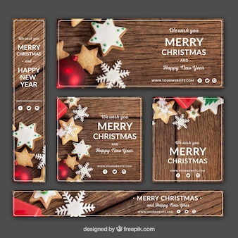 Retro christmas banners pack