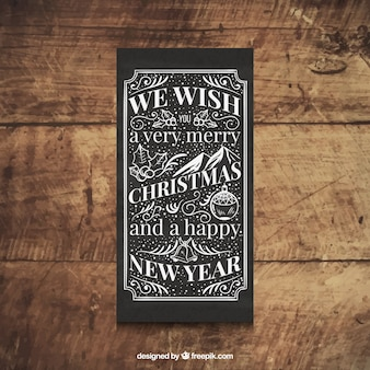 레트로 크리스마스 카드를 손으로 그린 스타일