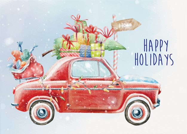 Retro christmas card with vintage red car
