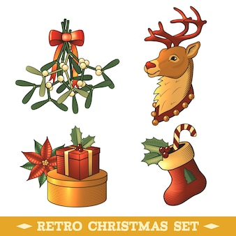Retro christmas decorative elements set