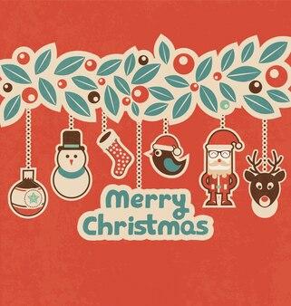 Ретро рождественский дизайн с висящими персонажами