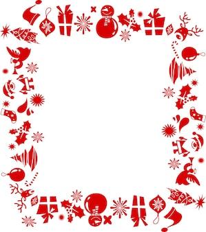 多くの赤いアイコンから作られたレトロなクリスマスフレーム。ベクトルイラスト