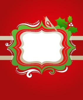 鳥、ヤドリギ、花の要素とレトロなクリスマスフレーム-ポスター、バナー、グリーティングカードのテンプレート