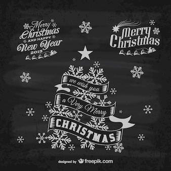 レトロなクリスマスのグリーティングラベル
