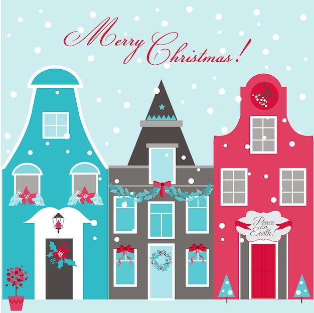 レトロなクリスマスの招待カード