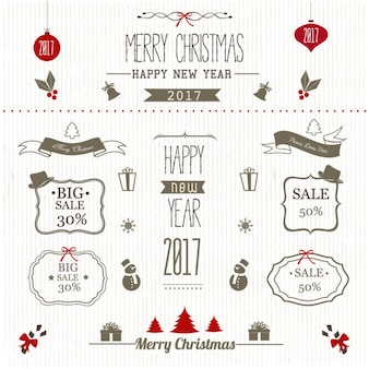 Retro christmas labels for discounts Free Vector