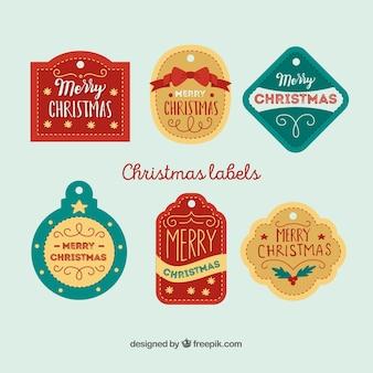 Retro christmas labels set